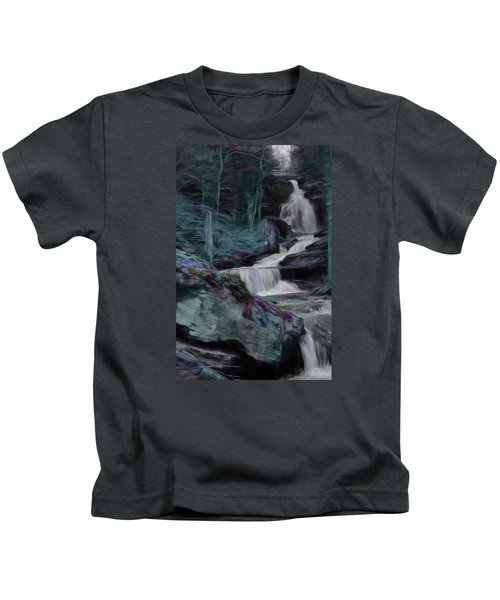 Night Rainbow Waterfall Kids T-Shirt
