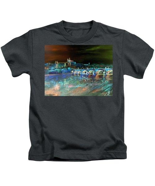 Night Sky Over Prague Kids T-Shirt