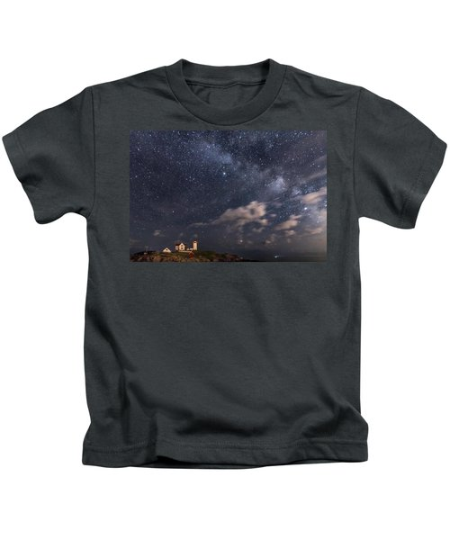 Nubble Lighthouse Under The Milky Way Kids T-Shirt