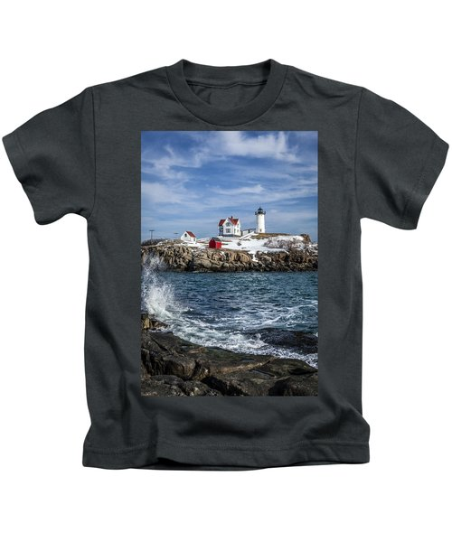 Nubble Lighthouse Winter Kids T-Shirt