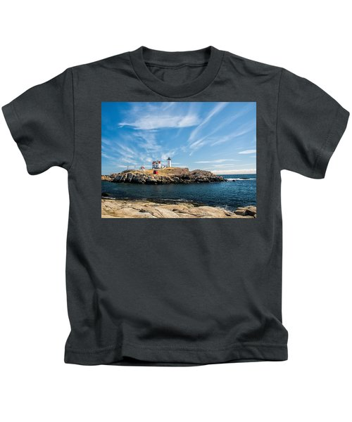 Nubble Lighthouse With Dramatic Clouds Kids T-Shirt