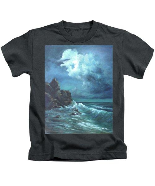 Seascape And Moonlight An Ocean Scene Kids T-Shirt