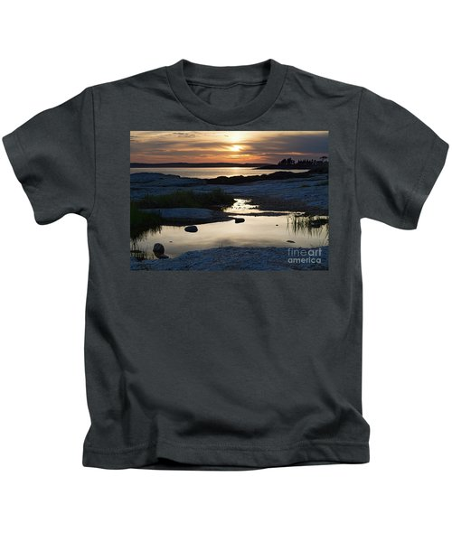 Ocean Point Sunset In East Boothbay Maine  -23091-23093 Kids T-Shirt