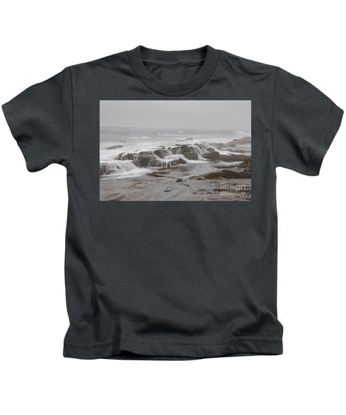 Ocean Waves Over Rocks Kids T-Shirt