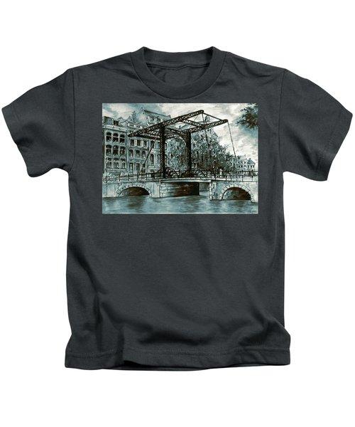 Old Amsterdam Bridge In Dutch Blue Water Colors Kids T-Shirt