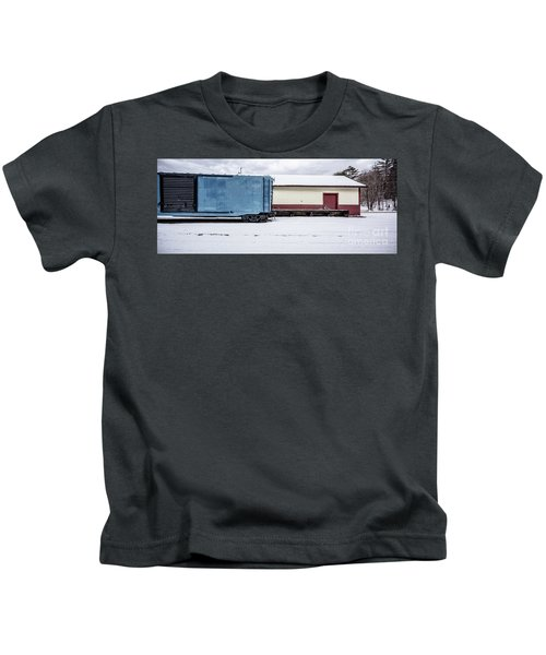 Old Box Car At A Freight Station Kids T-Shirt