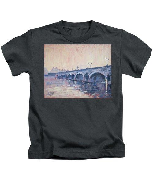 Old Bridge Of Maastricht In Warm Diffuse Autumn Light Kids T-Shirt by Nop Briex
