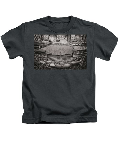 Old Car City In Black And White Kids T-Shirt