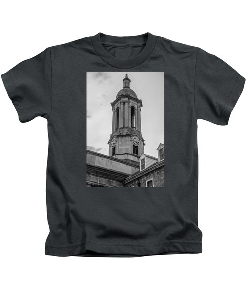 Old Main Tower Penn State Kids T-Shirt by John McGraw