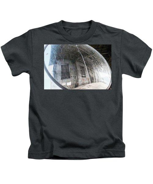 Old Mirror Near An Urban Parking Garage In Sheboygan Wisconsin Kids T-Shirt