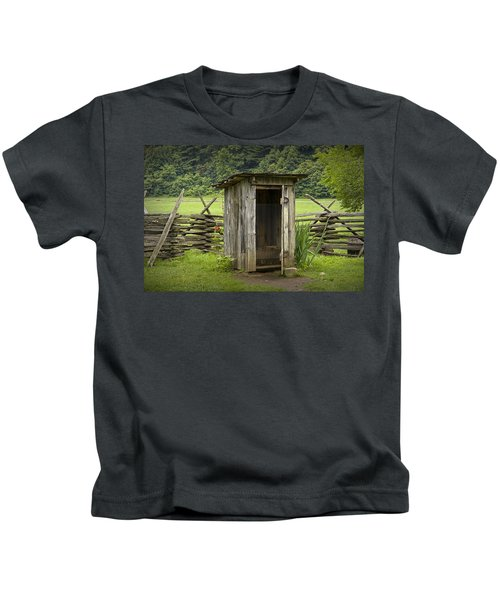 Old Outhouse On A Farm In The Smokey Mountains Kids T-Shirt