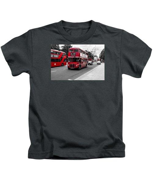 Old Red Bus Bw Kids T-Shirt