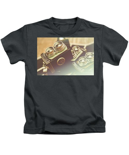Old Vintage Faded Print Of Camera Equipment Kids T-Shirt