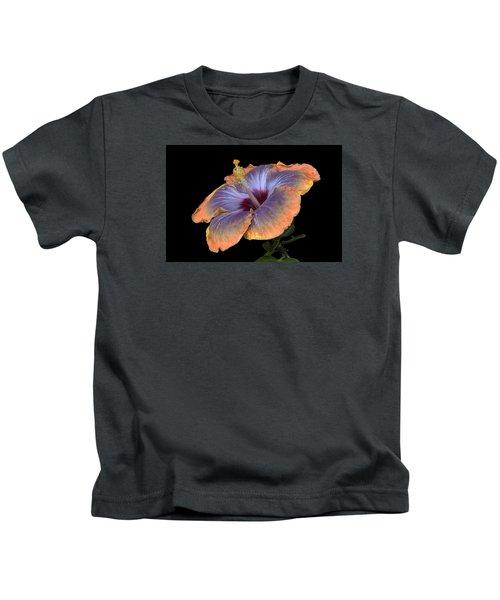 Orange-blue Hibiscus Kids T-Shirt
