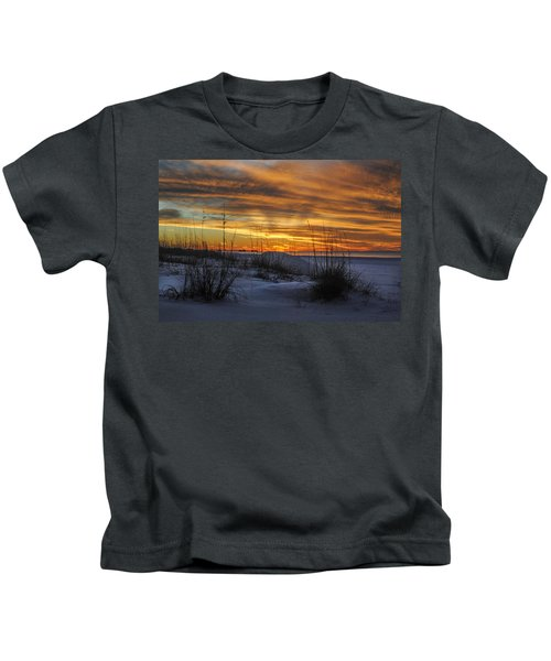 Orange Clouded Sunrise Over The Pier Kids T-Shirt