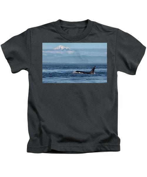 Orca Male With Mt Baker Kids T-Shirt