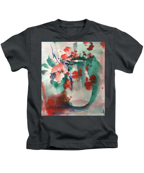 Oriental Brush Flowers And Vase Kids T-Shirt