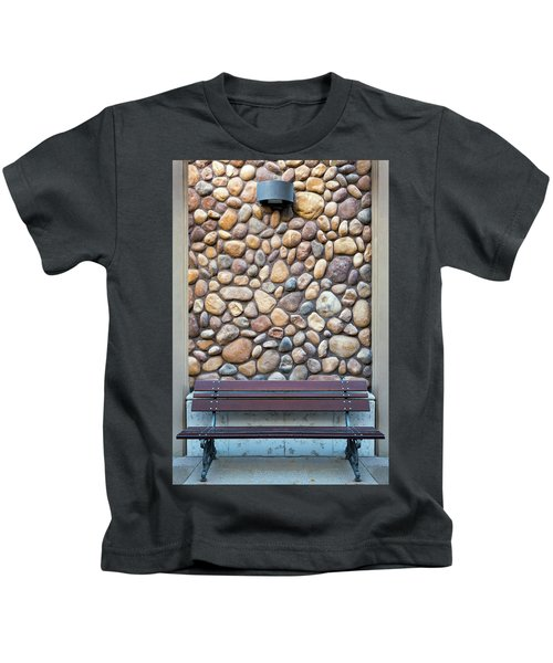 Outdoor Wood Bench By Rock Wall Kids T-Shirt