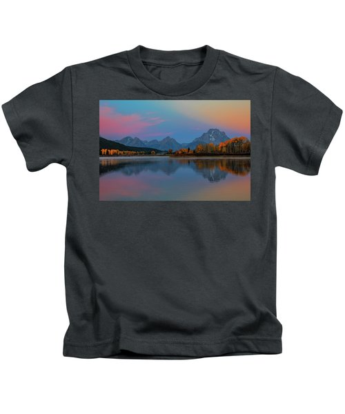 Oxbows Reflections Kids T-Shirt by Edgars Erglis
