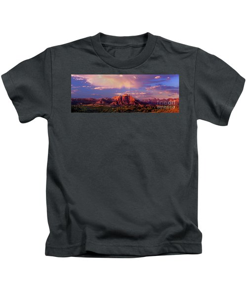 Panorama West Temple At Sunset Zion Natonal Park Kids T-Shirt