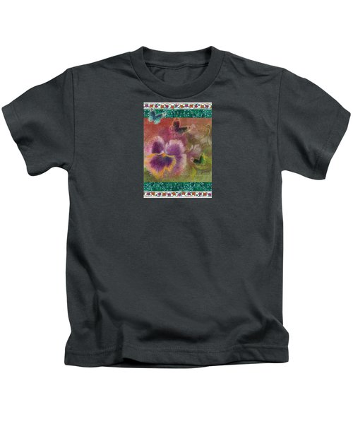 Pansy Butterfly Asianesque Border Kids T-Shirt