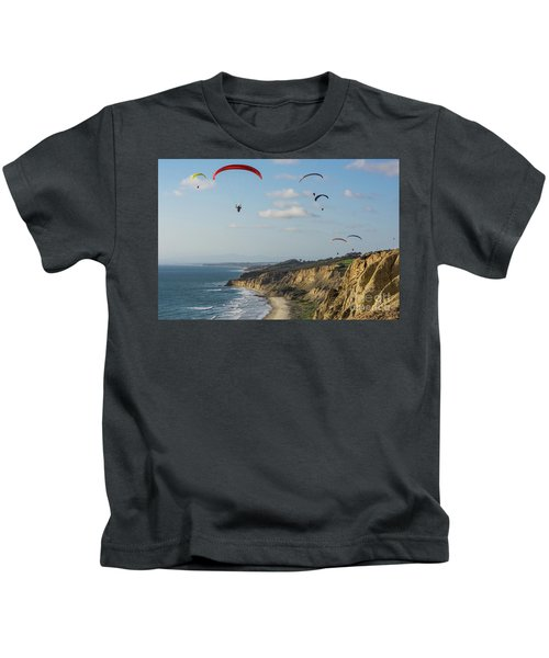 Paragliders At Torrey Pines Gliderport Over Black's Beach Kids T-Shirt