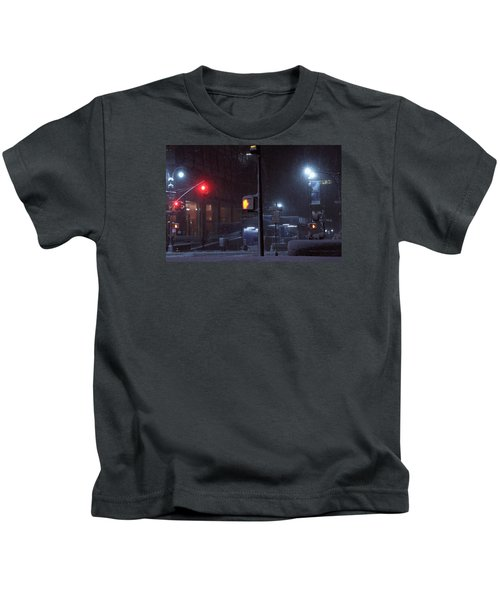 Park Avenue And E46th Street In The Late Night Snow Storm Kids T-Shirt