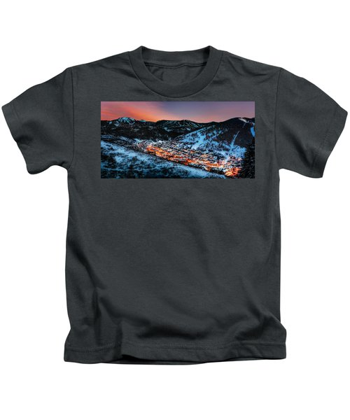 Park City Winter Sunset Kids T-Shirt
