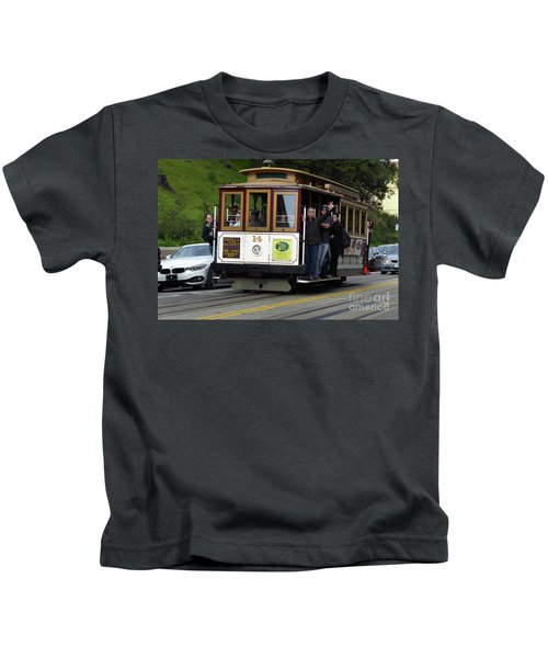 Passenger Waves From A Cable Car Kids T-Shirt