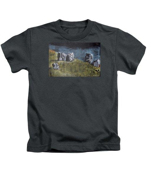 Pastel Stones On Black Kids T-Shirt