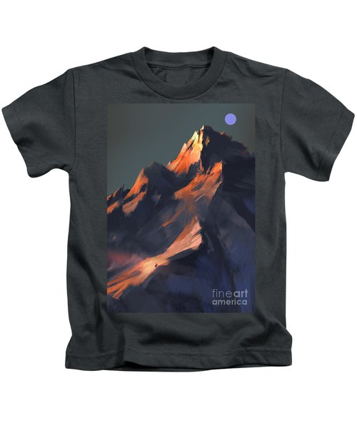 Kids T-Shirt featuring the painting Peak by Tithi Luadthong