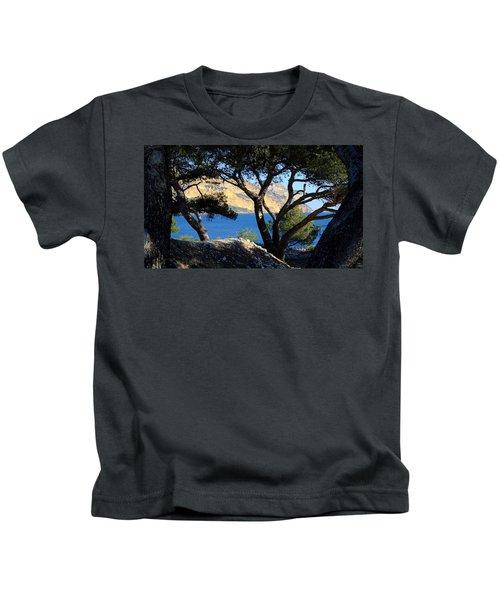 Peeping Through Pines Kids T-Shirt
