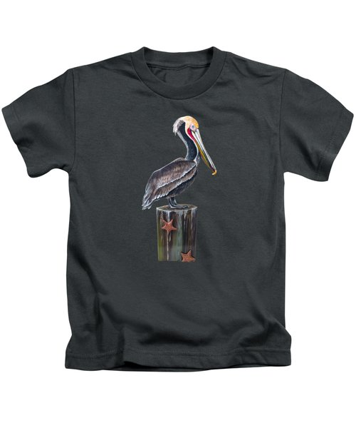 Pelican Standing On A Piling Kids T-Shirt by Jennifer Rogers