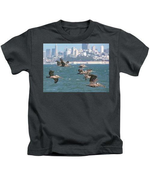 Pelicans Over San Francisco Bay Kids T-Shirt