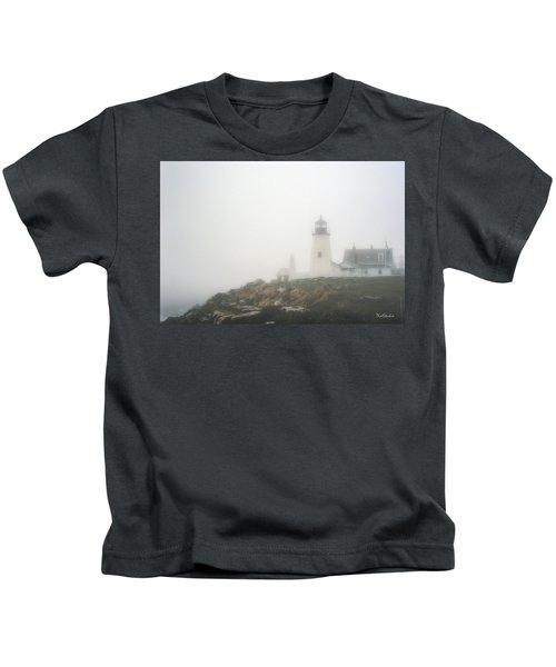 Pemaquid Point Lighthouse In Fog Kids T-Shirt