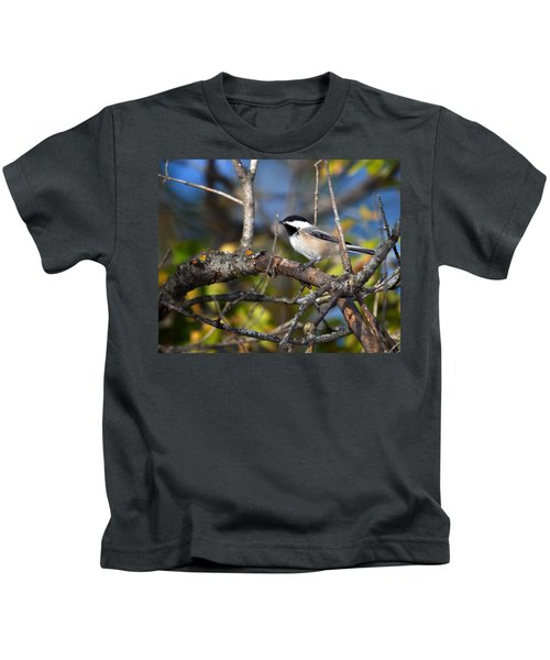 Perched Black-capped Chickadee Kids T-Shirt