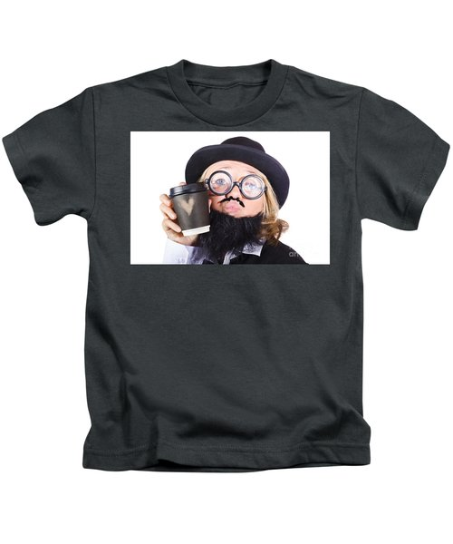 Person With Cup Of Coffee Kids T-Shirt