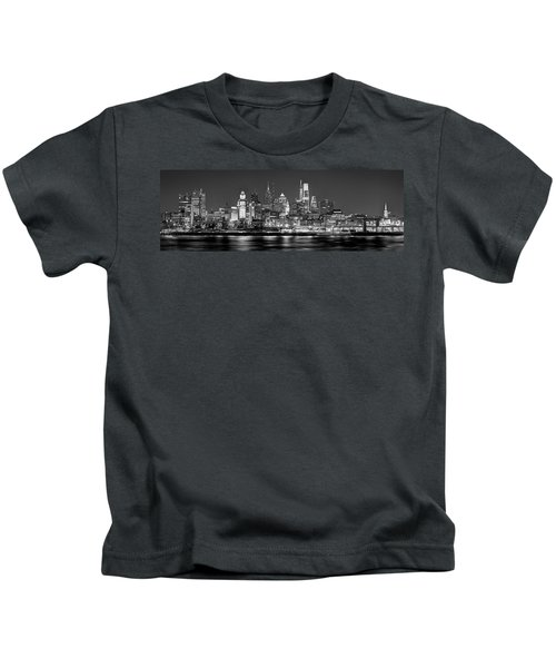 Philadelphia Philly Skyline At Night From East Black And White Bw Kids T-Shirt