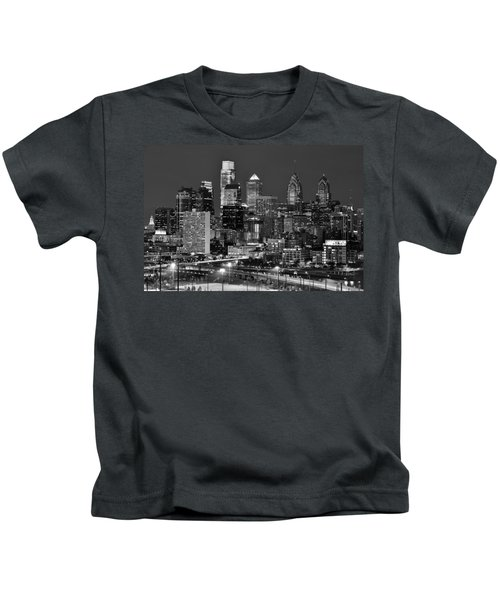 Philadelphia Skyline At Night Black And White Bw  Kids T-Shirt by Jon Holiday