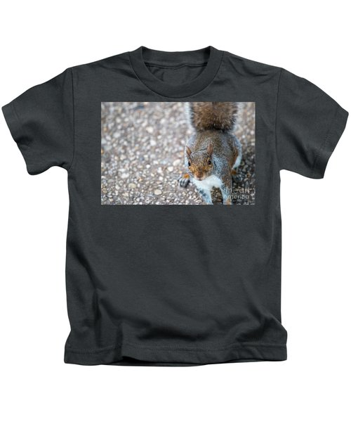 Photo Of Squirel Looking Up From The Ground Kids T-Shirt