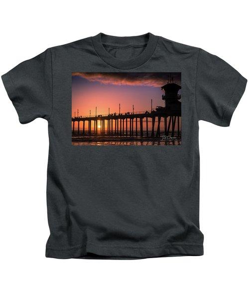 Pier At Sunset Kids T-Shirt
