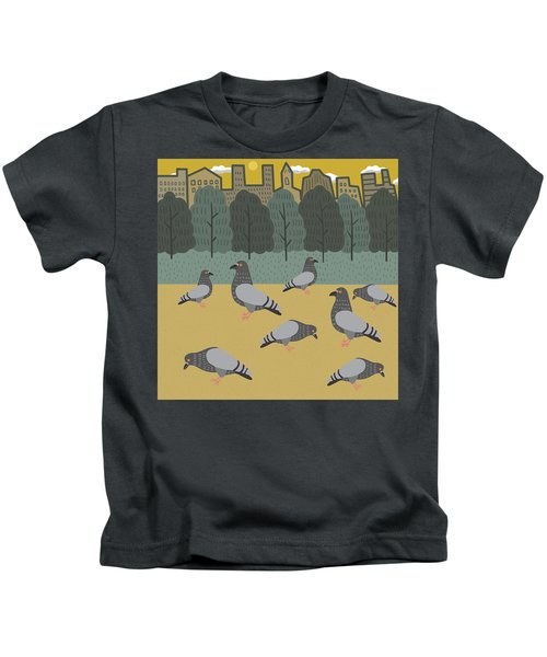 Pigeons Day Out Kids T-Shirt by Nicole Wilson