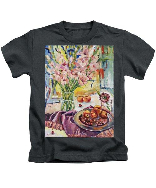 Pink Gladioas Kids T-Shirt