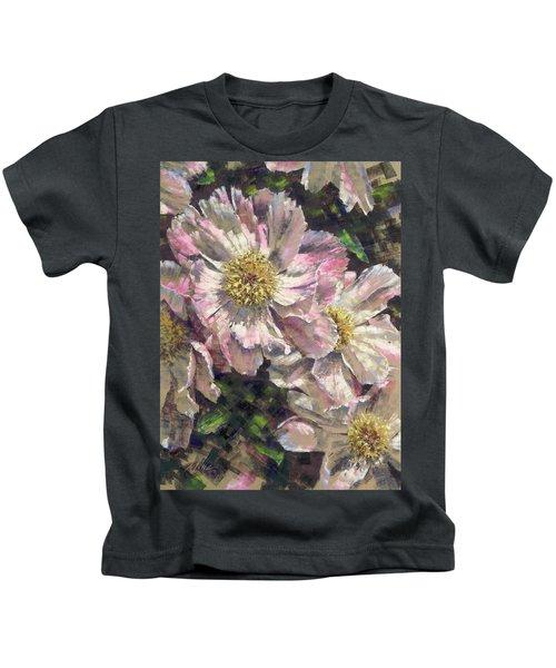 Pink Single Peonies Kids T-Shirt