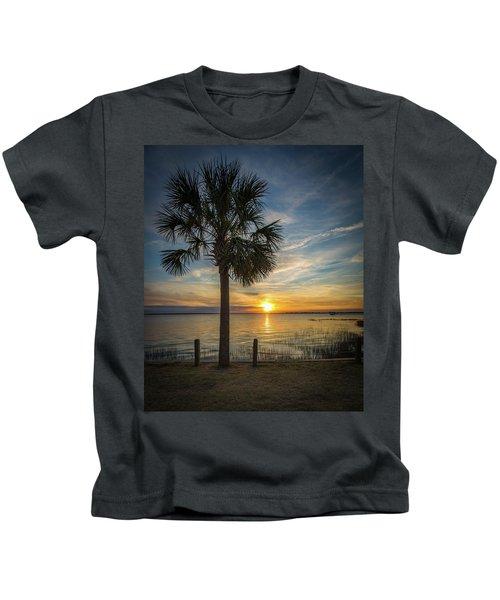 Pitt Street Bridge Palmetto Tree Sunset Kids T-Shirt