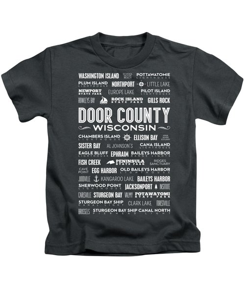 Places Of Door County On Gray Kids T-Shirt
