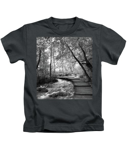 Plitvice In Black And White Kids T-Shirt