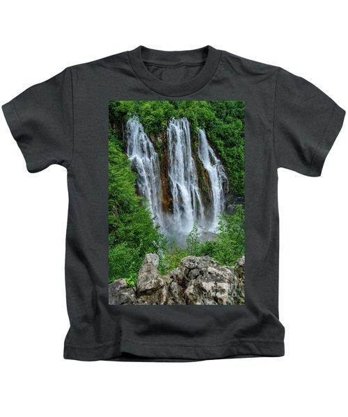Plitvice Lakes Waterfall - A Balkan Wonder In Croatia Kids T-Shirt