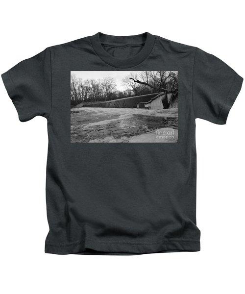 Falling Water On The Pompton Spillway In Winter Kids T-Shirt