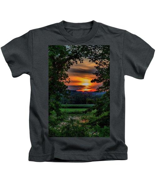 Pond Sunset  Kids T-Shirt